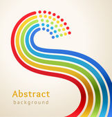 Curved colored stripes with circles, vector. Design template. — Stock Vector