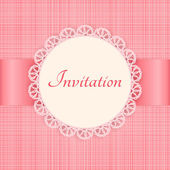 Vector lace frame on pink seamless textile background. Vintage invitation card. — Stock Vector