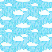 Blue sky with white clouds. Seamless pattern. Hand drawn illustration with swirls — Stock Vector
