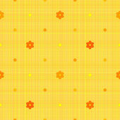 Orange seamless pattern with polka dots and flowers — Stock Vector