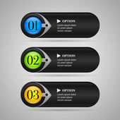 Black horizontal colorful options banners buttons with arrow Vector template — Stock Vector