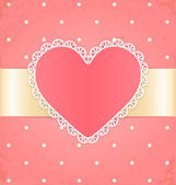 Invitation or greeting card with heart Lace label and ribbon on pink grunge background — Stock Vector