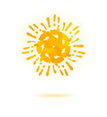 Sun made of handprint. Vector concept for your design — Stock Vector