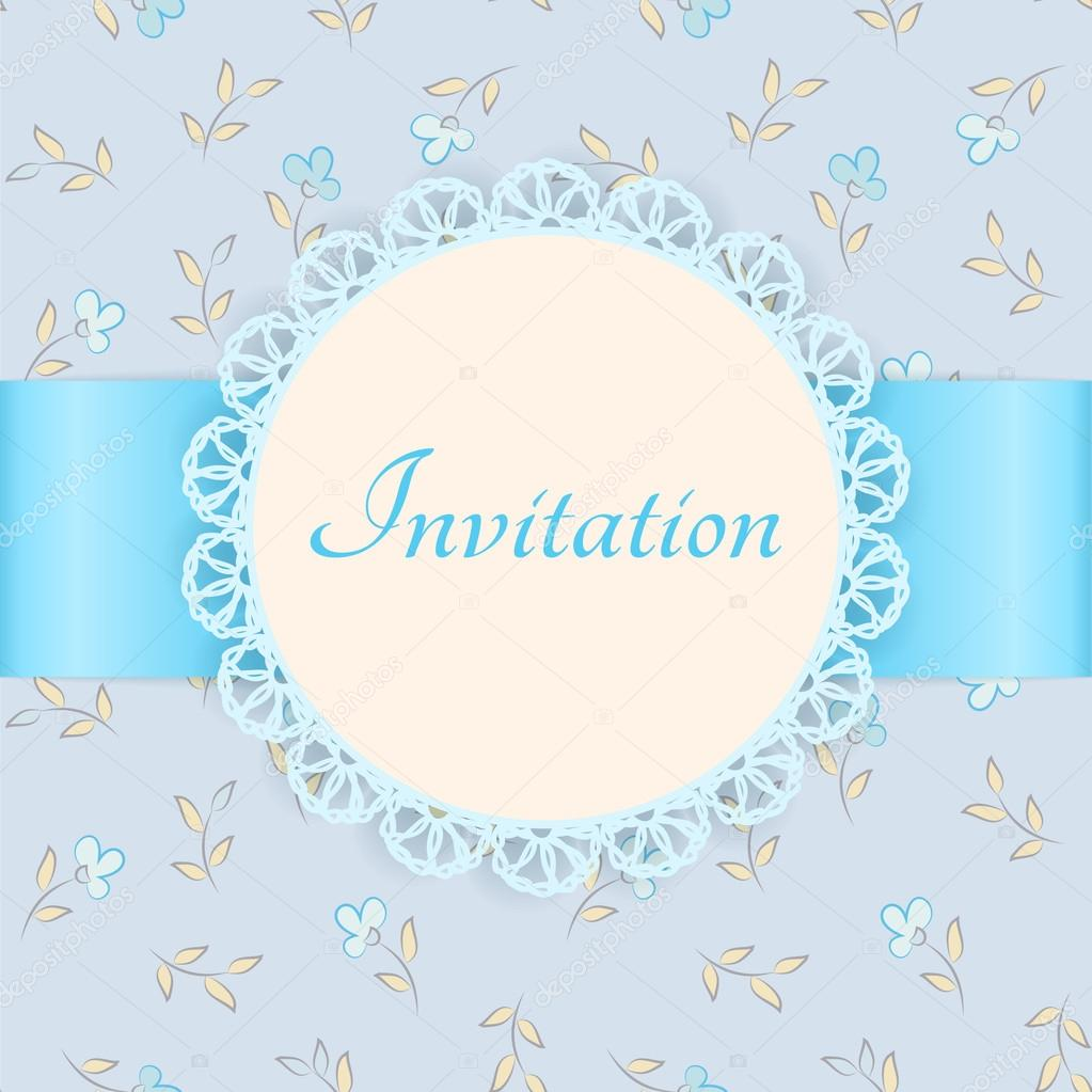 5 Blue Floral Wedding Invitation Card Vector Material: Vector Lace Frame With Blue Ribbon On Floral Background