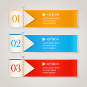 Modern numbered options banners. Horizontal color ribbon with arrows. Vector illustration — Stock Vector