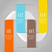 Líneas curvadas de colores con números sobre fondo gris. moda opciones banner de estilo origami. se puede utilizar para las opciones numeradas, diseño web, infografía — Vector de stock