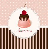Vintage vector invitation card with cherry chocolate jelly cake — Stock Vector