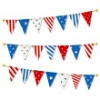 Set of triangle bunting flags in american national flag color gamut. Vector illustration — Stock Vector