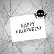 Cute spider, webs and white card over gray background. — Stockvector