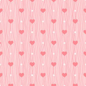 Love seamless pattern. Pink hearts and polka dot on wavy background — Vecteur