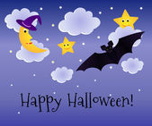Halloween vector background with moon in magic hat, stars and bat. — Stock Vector