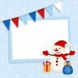 Christmas card with festive flags and sticker snowman and place for your text   — Stock Vector