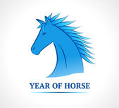 Blue horse. Symbol of new year 2014. — Stock Vector