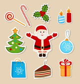 Collection of colorful Christmas stickers — Stock Vector