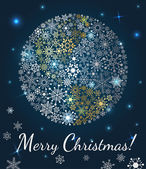 Christmas background. Planet made from snowflakes on dark blue background — Stock Vector