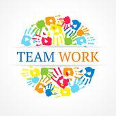 Team work symbol. Vector creative concept — Stock Vector