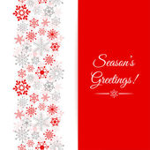 Christmas greetings card. Border Christmas seamless pattern with snowflakes — Stock Vector