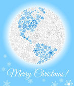 Planet made from snowflakes. Christmas card or background — Stock Vector