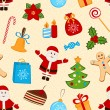 Color seamless pattern with different symbols of Christmas. Vector Illustration — Stock Vector