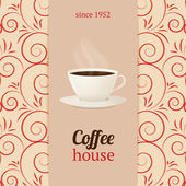 Vector coffee house menu with cup of hot drink. — Stock Vector