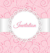 Vector lace frame with silver ribbon on swirl background. Vintage invitation card. — Stockvektor