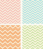 Set of retro zig zag seamless backgrounds — Stock Vector
