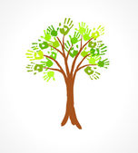 Green tree with leaves made of handprint. Eco concept for your design. — Stock Vector