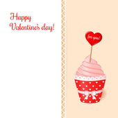 Vintage valentine's card. Pink cream cupcake with ribbon and heart. — Stock Vector
