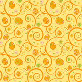 Orange easter seamless pattern with ornate eggs and swirls — Stock Vector