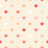 Retro seamless pattern. Color hearts and dots on beige textured background — Stock Vector