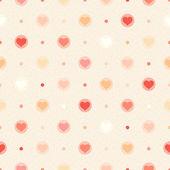 Retro nahtlose muster. farbe herzen und punkte auf beige strukturierten hintergrund — Stockvektor