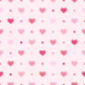 Pink retro seamless pattern. Hearts and dots on textured background — Stockvektor