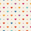 Retro seamless pattern. Color hearts and dots on beige textured background — Stock Vector #41001493