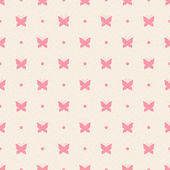 Retro seamless pattern. Pink butterflies and dots on beige background — Cтоковый вектор