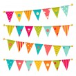 Vector triangle bunting flags with flowers — Stock Vector #41754659