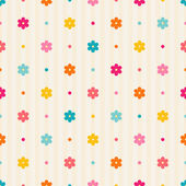 Retro seamless pattern. Color flowers and dots on beige striped background — Wektor stockowy