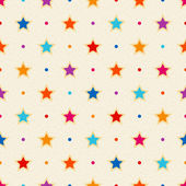 Retro seamless pattern. Color stars and dots on textured background — Stock Vector