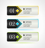 Horizontal black options banners or buttons with color elements — Stock Vector