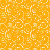 Orange easter seamless pattern with eggs, flowers and swirls — Stock Vector