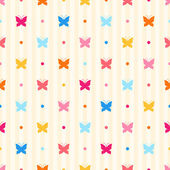 Seamless pattern. Color butterflies and dots on beige striped background — Stockvektor