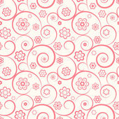 Pink seamless pattern. Flowers and swirls on white background — Stock Vector