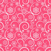 Pink seamless pattern with flowers and swirls — Vector de stock