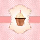 Carta d'epoca saluti rosa. torta alla crema con candela. — Vettoriale Stock