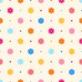 Retro seamless pattern. Color flowers and dots on beige dotted b — Stock Vector