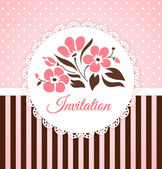 Vintage vector invitation card with flowers — Stock Vector