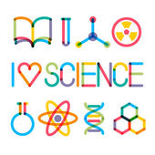 "Trendy multiply science icons and phrase ""I love science"" — Stock Vector"