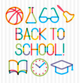 "Trendy multiply education icons and phrase ""Back to school!"" — Stock Vector"