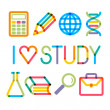 """Trendy multiply education icons and phrase """"I like study!"""" — Stock Vector"""