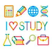 "Trendy multiply education icons and phrase ""I like study!"" — Stock Vector"