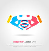 Creative cooperation symbol. Business background. — Wektor stockowy